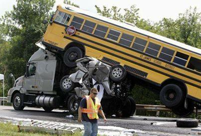 "2010 pileup in Missouri investigated by the NTSB that found the 19 year old driver of the pick-up (on-top of the tractor fifth wheel and beneath the bus) was ""manually, cognitively and visually distracted"" because of texting on his cell phone."